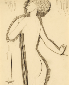 Standing-Female-Nude-in-Profile-with-Lighted-Candle Right Amedeo Modigliani, Standing Female Nude in Profile with Lighted Candle, c. 1911, Courtesy Richard Nathanson, London.