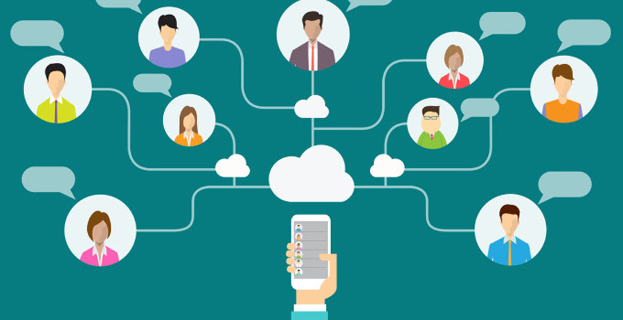 social network communication and business connection on mobile